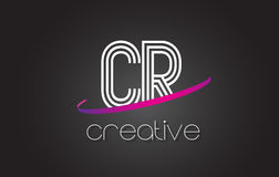 CR C R Letter Logo with Lines Design And Purple Swoosh. CR C R Letter Logo with Lines Design And Purple Swoosh Vector Letters Illustration Stock Photos