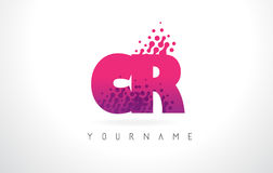 CR C R Letter Logo with Pink Purple Color and Particles Dots Des. CR C R Letter Logo with Pink Letters and Purple Color Particles Dots Design Stock Photo
