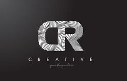 CR C R Letter Logo with Zebra Lines Texture Design Vector. CR C R Letter Logo with Zebra Lines Texture Design Vector Illustration Royalty Free Stock Photography