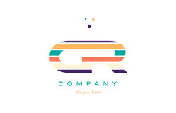 Cr c r line stripes pastel color alphabet letter logo icon templ. Cr c r alphabet letter logo colors colorful line stripe font creative text dots company vector Stock Images