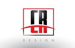 CR C R Logo Letters avec des couleurs et le bruissement rouges et noirs illustration de vecteur