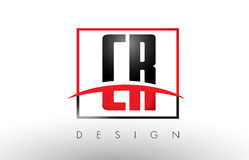CR C R Logo Letters with Red and Black Colors and Swoosh. Creative Letter Design Vector Stock Images