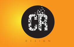 CR C R Logo Made of Small Letters with Black Circle and Yellow B. CR C R Logo Design Made of Small Letters with Black Circle and Yellow Background Stock Images