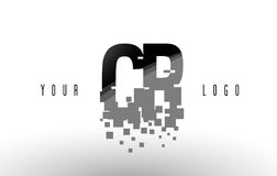 CR C R Pixel Letter Logo with Digital Shattered Black Squares. Creative Letters Vector Illustration Stock Photo