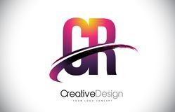 CR C R Purple Letter Logo with Swoosh Design. Creative Magenta M. Odern Letters Vector Logo Illustration Stock Photography