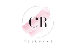 CR C R Watercolor Letter Logo Design with Circular Brush Pattern. CR C R Watercolor Letter Logo Design with Circular Shape and Pastel Pink Brush Royalty Free Stock Image