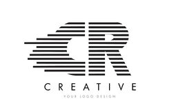 CR C R Zebra Letter Logo Design with Black and White Stripes. Vector Stock Photos