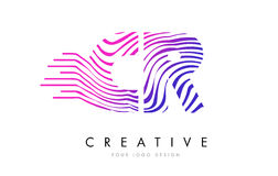CR C R Zebra Lines Letter Logo Design with Magenta Colors. CR C R Zebra Letter Logo Design with Black and White Stripes Vector Royalty Free Stock Photography