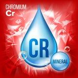 Cr-Chrom-Vektor Blaue Tropfen-Mineralikone Vitamin-flüssige Tröpfchen-Ikone Substanz für Schönheit, Kosmetik, Heath Promo Ads stock abbildung