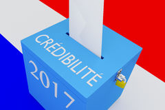 Cr?dibilit? - the French word for Credibility. 3D illustration of CR?DIBILIT? , 2017 scripts and on ballot box, with French flag as a background Royalty Free Stock Images