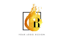 CR Gold Letter Logo Painted Brush Texture Strokes. CR Gold Letter Brush Logo. Golden Painted Watercolor Background with Square Frame Vector Illustration Royalty Free Stock Photo
