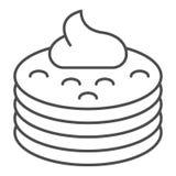 Cr?pes avec la ligne mince ic?ne de sirop Crêpes avec l'illustration de vecteur de beurre d'isolement sur le blanc r image stock