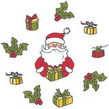 Portrait of Santa Claus and gifts royalty free illustration