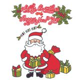 Santa Claus with a gift in hand and a lot of boxes around royalty free illustration