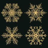 Set of winter snowflakes on a dark golden background stock illustration