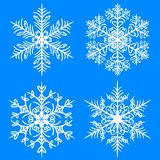 Snowflake winter set. Vector silhouettes on blue background vector illustration