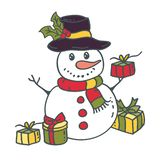 Snowman with gifts. Vector illustration vector illustration