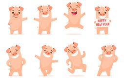 Vector little cartoon pigs characters posing in different situations. Set 1 vector illustration