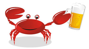 The crab. Holds a mug of light beer Stock Images