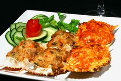 Crab. A plate of stuffed crab meat and minced pork, deep fried stock photos