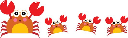 Crab. Vector illustration for a crab mother and her children walking in a row Royalty Free Stock Image