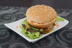 Crab and Alga Burger royalty free stock photography