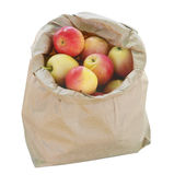Crab Apples in a Brown  Paper Bag. Isolated with clipping path Stock Images