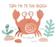 Crab baby cute print. Sweet sea animal. tame to the beach - text slogan. Cool ocean animal illustration for nursery t-shirt, kids apparel, party and baby vector illustration