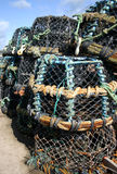 Crab baskets. A pile of crab baskets on the harborside Royalty Free Stock Image