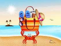 Crab with beach bag Royalty Free Stock Photography