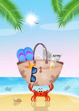 Crab with beach bag. Illustration of crab with beach bag Royalty Free Stock Photography