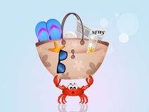 Crab with beach bag. Illustration of crab with beach bag Stock Photo