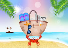 Crab with beach bag. Illustration of crab with beach bag Stock Photos