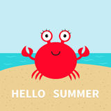 Crab on the beach. Sea ocean, sky, sand. Cute cartoon baby character.  Stock Images