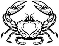 Crab black white Royalty Free Stock Photography