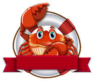 Crab and blank banner Royalty Free Stock Images