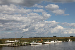 Crab boats on the Smyrna River Stock Images
