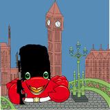 Crab british soldier on Westminster bridge Stock Image