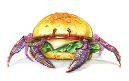 Crab burger with cheese. Tomato and lettuce vector illustration