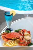 Crab By Pool Stock Images