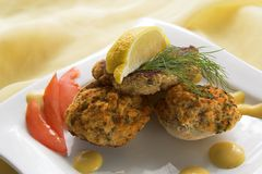 Crab Cake And Clams royalty free stock photos