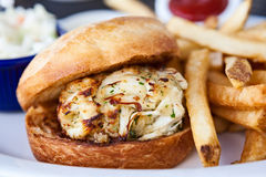 Crab Cake Sandwich and French Fries Stock Photo
