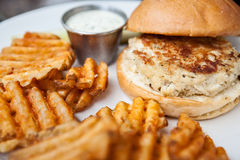 Crab Cake Sandwich and Fries Stock Images