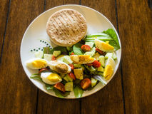 Crab cake sandwich with salad Royalty Free Stock Image