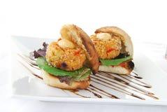 Crab cake sandwiches Stock Photos