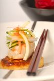Crab Cake With Scallop And Vegetable Salad Garnish Stock Photos