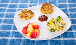 Crab Cakes with Broccoli Casserole and Fruit Royalty Free Stock Photos