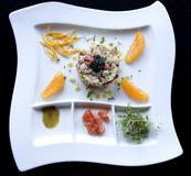 Crab Cakes with Caviar. Photographs of a crab cakes with caviar royalty free stock image