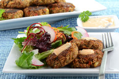 Crab cakes with salad. Freshly cooked crab cakes with baby greens salad Royalty Free Stock Images
