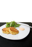 Crab Cakes and Salad with White Background Royalty Free Stock Photos